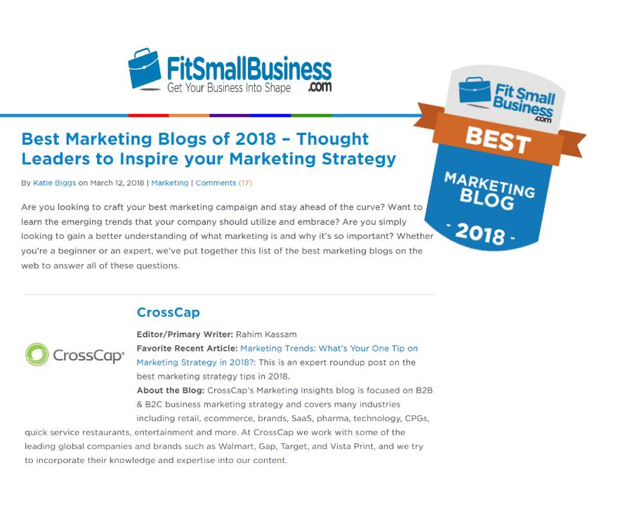 CrossCap's Blog is on The Best Marketing Blogs of 2018 List! - CrossCap